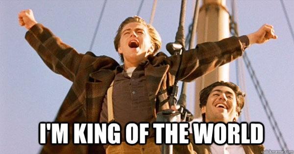 """Dan sao Titanic gio di dau, ve dau? hinh anh 5 Câu nói trên đầu mũi tàu """"I'm king of the world"""" dường như đeo bám sự nghiệp của chàng Jack. Bằng chứng là không có tượng vàng nào trong tay nhưng Leonardo DiCaprio vẫn chưa bao giờ hết hot!"""