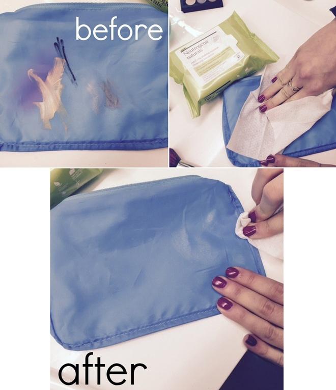 14 cach ve sinh do trang diem nhanh gon hinh anh 1 Sau một thời gian sử dụng, chiếc túi đựng đồ trang điểm của bạn sẽ không khác gì bức vẽ nguệch ngoạc của một đứa bé. Tuy nhiên, bạn có thể làm sạch chúng chỉ trong vài giây. Đầu tiên, lộn trái chiếc túi, sử dụng khăn ướt tẩy trang lau vài lần là bạn sẽ có được chiếc túi sạch như mới.