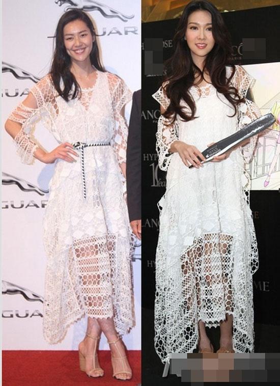 Nhung lan 'dung hang' dinh dam cua sieu mau dat gia chau A hinh anh 5 Thiết kế váy ren trắng hiệu Chloe được cả Lưu Văn và Tiết Khải Kỳ yêu thích.