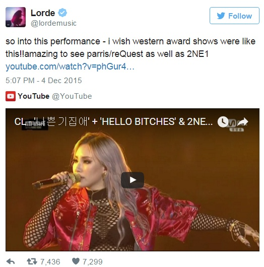 Lorde ca ngoi CL (2NE1) hinh anh 1