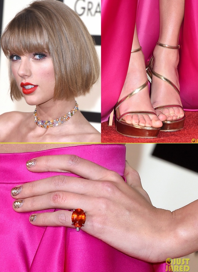 Taylor Swift khoe eo thon tren tham do Grammy 2016 hinh anh 3