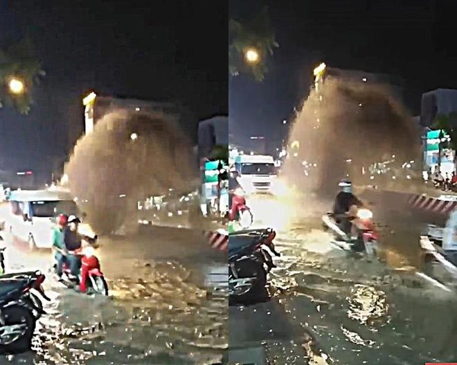 Cột nước phụt cao 5 m như 'vòi rồng' ở Sài Gòn