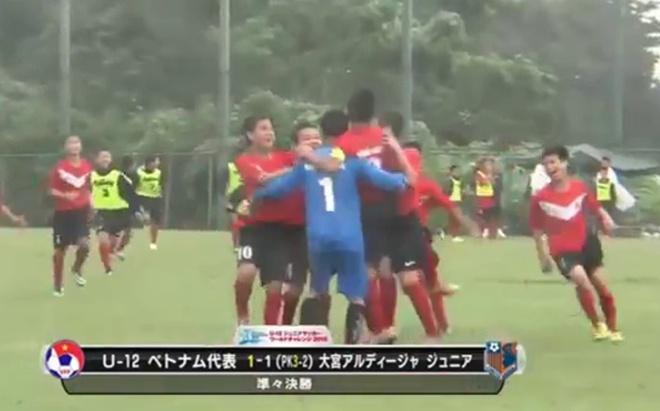 Video U12 Viet Nam vuot qua U12 Omiya Ardija o tu ket hinh anh