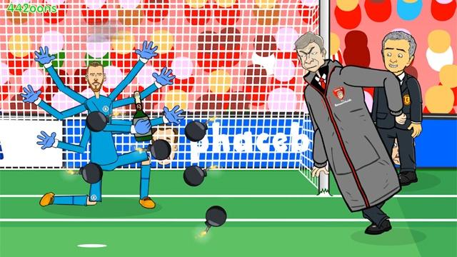 Mourinho tuc dien khi HLV Wenger tang De Gea may fax hinh anh