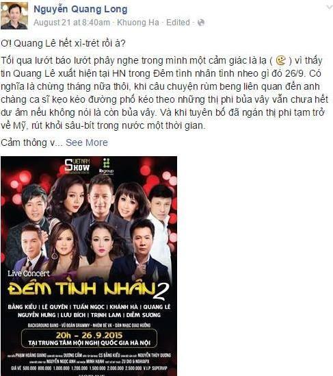 Quang Le quay lai san khau vi le gi? hinh anh 1