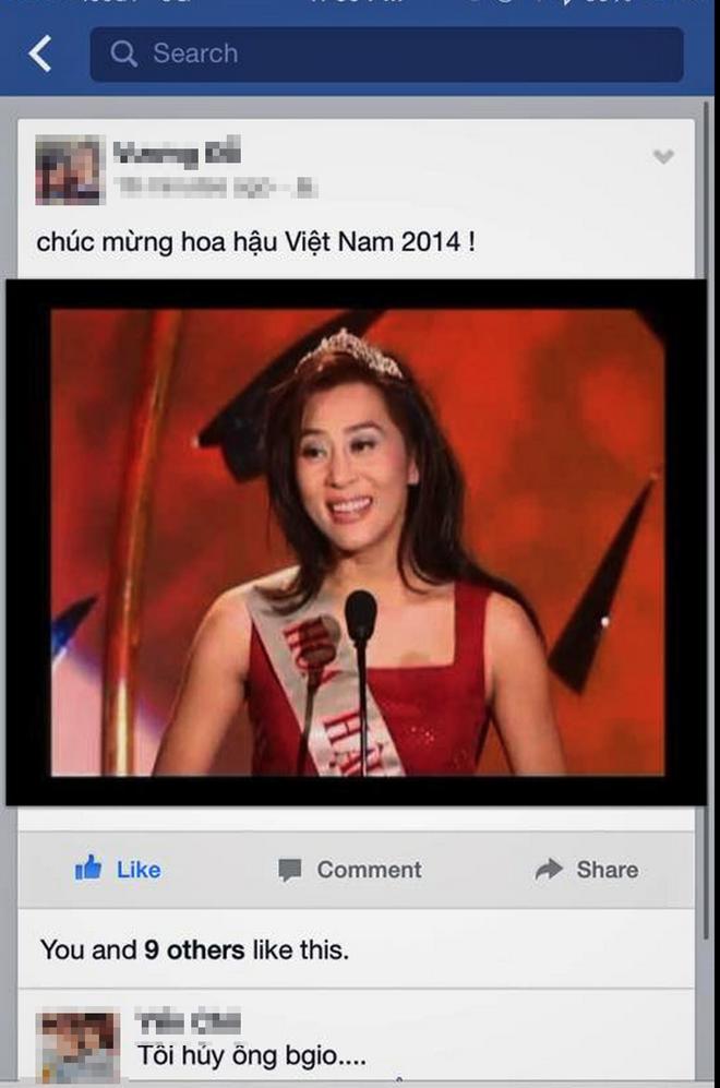 'Dai chien' tren Wikipedia Viet Nam vi Nguyen Cao Ky Duyen hinh anh 3 Dân mạng Việt Nam hài hước chúc mừng tân Hoa hậu Việt Nam khi dùng hình ảnh của MC Kỳ Duyên.