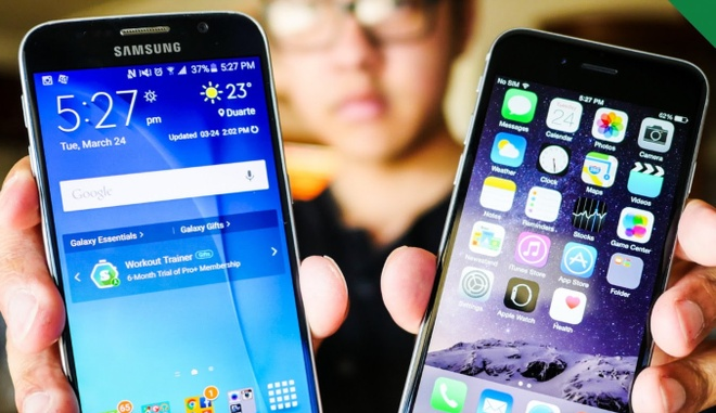 Galaxy S6 va iPhone 6 Plus do anh chup dem hinh anh
