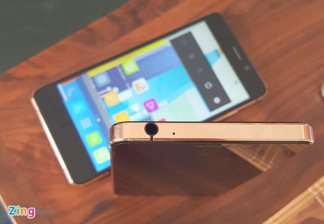 Smartphone thuong hieu Viet mong nhat lo dien hinh anh 2 Hình ảnh phiên bản mạ vàng trên khung nhôm kim loại nguyên khối.