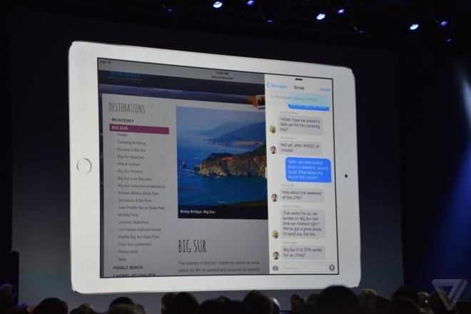 iPad dung iOS 9 co the chay da nhiem, nhieu cua so hinh anh
