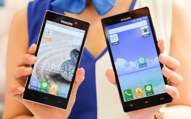 Philips gioi thieu 2 smartphone man hinh bao ve mat o VN hinh anh