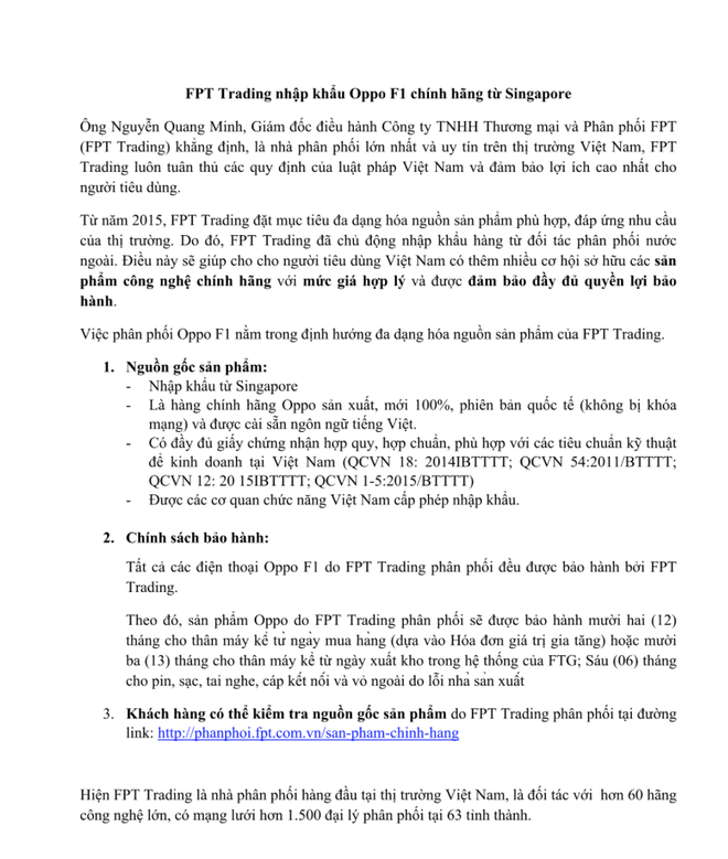 FPT khang dinh nhap dien thoai Oppo tu Singapore hinh anh 1