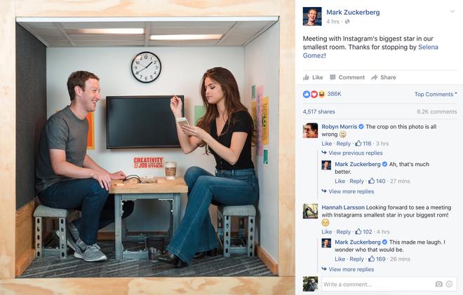CEO Facebook gap go Selena Gomez trong phong sieu nho hinh anh 1