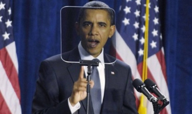 May Teleprompter bi vo khi ong Obama dang thuyet trinh hinh anh