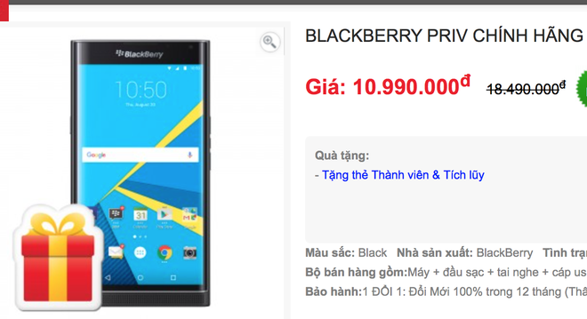 BlackBerry Priv chinh hang giam gia 6 trieu dong hinh anh 1