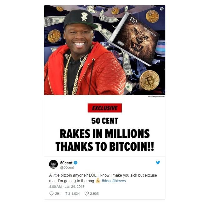 Rapper 50 Cent vo tinh kiem duoc 8 trieu USD tu Bitcoin hinh anh 1