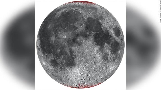 Vị trí hematit được phát hiện trên Mặt Trăng (màu đỏ). Ảnh: Đại học Hawaii.