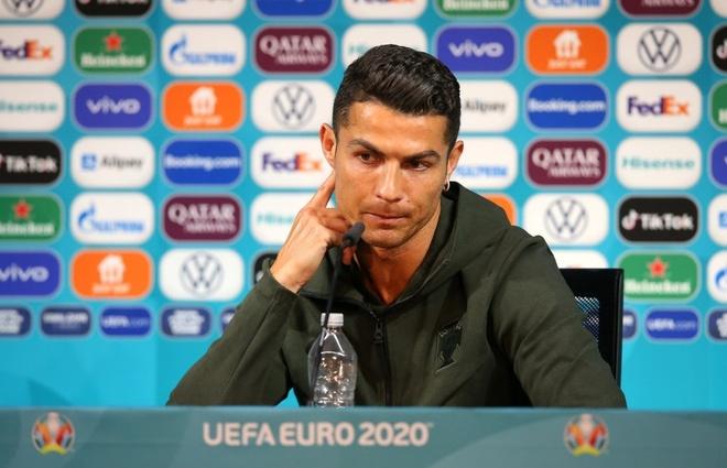 Ronaldo day chai nuoc Coca-Cola anh 1