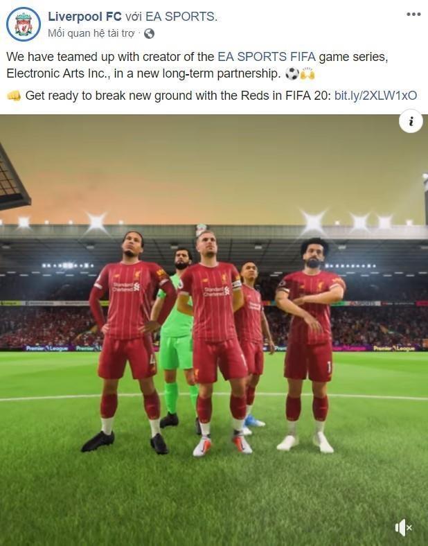Liverpool đăng tải thông báo hợp tác với EA Sports trên trang Facebook chính thức của câu lạc bộ.