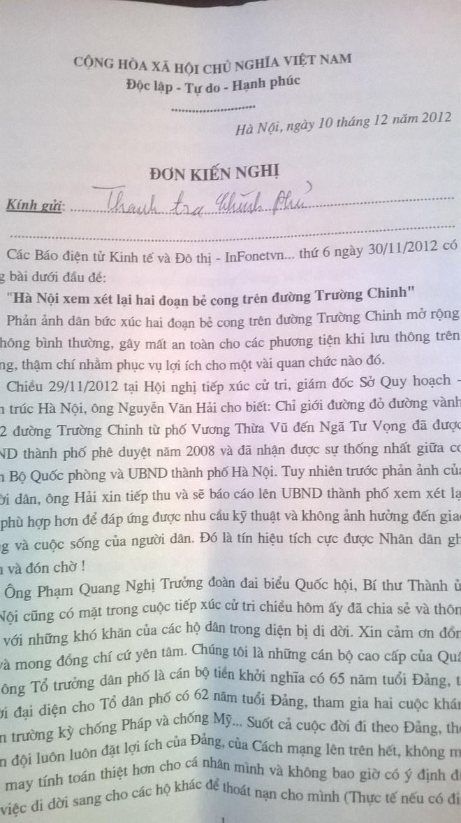 Nguoi dan phan bac Thanh tra Chinh phu ve duong Truong Chinh hinh anh 1