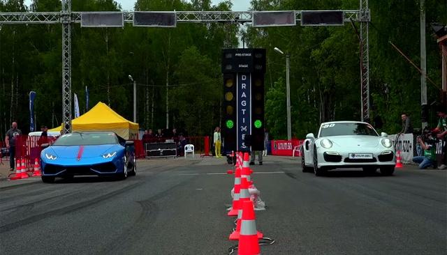 Lamborghini Huracan do suc cung Porsche 911 Turbo S hinh anh