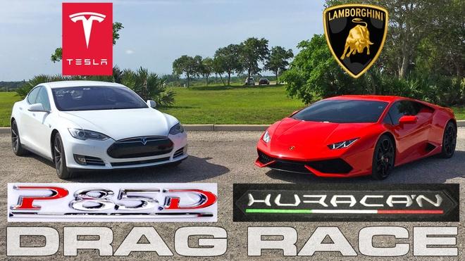 Tesla Model S dua duong thang cung Lamborghini Huracan hinh anh