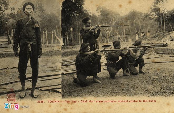 Nguoi Phap luu giu anh doc ve 'Hum thieng Yen The' hinh anh 7 Đội trưởng Nghĩa quân và những người lính luyện tập bắn súng.