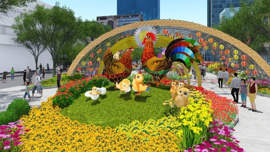 Phoi canh duong hoa Nguyen Hue xuan Dinh Dau 2017 hinh anh