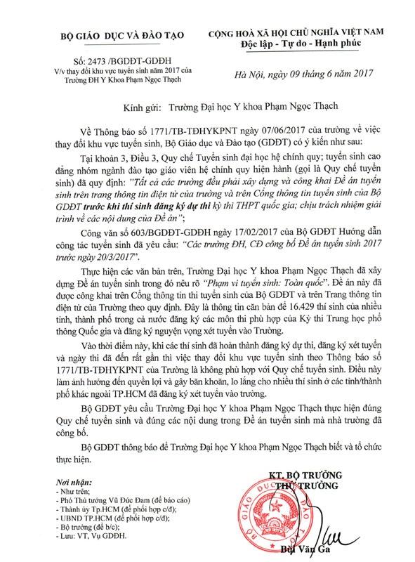 tuyen sinh DH Y Pham Ngoc Thach anh 1
