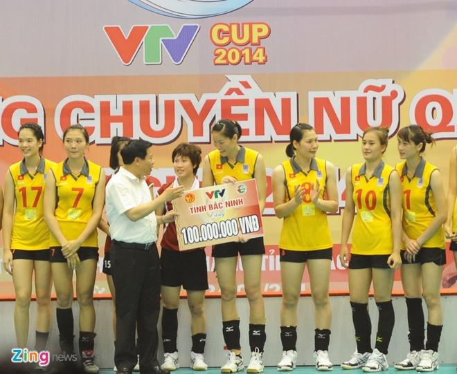 Nha thi dau Bac Ninh 'no tung' khi bong chuyen nu VN vo dich hinh anh 7 Đội truyển bóng chuyền nữ Việt Nam được UBND tỉnh Bắc Ninh thưởng nóng 100 triệu đồng.