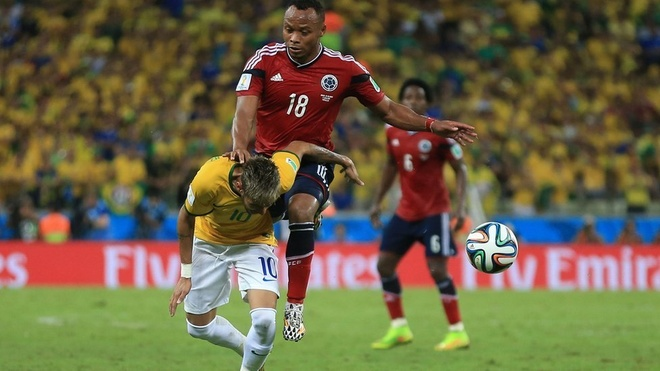 Ended. Neymar's tournament is over, and arguably Brazil's hopes diminish, when Colombia's Juan Zuniga crashes into the back of the 22-year-old, fracturing the forward's third vertebra during the hosts