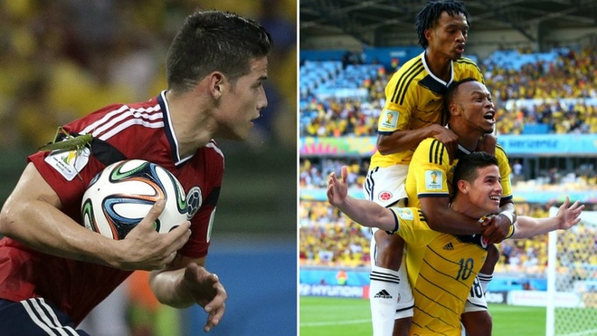 Colombia's James Rodriguez as he runs back with the ball after scoring his side's first goal during the World Cup quarter-final soccer match between Brazil and Colombia