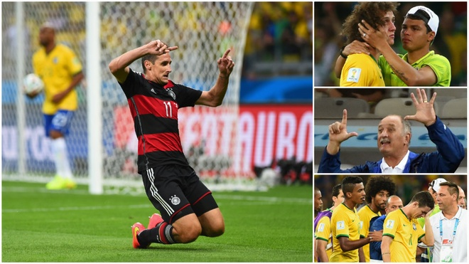 Historic. Miroslav Klose becomes the tournament's all-time leading scorer on 16 goals as Germany score more times than any other side in a semi-final, humiliating an emotional Brazil 7-