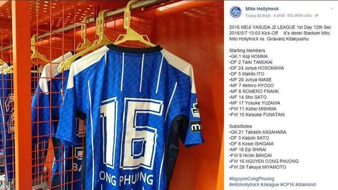 Cong Phuong duoc dang ky thi dau o vong 12 J.League 2 hinh anh 1