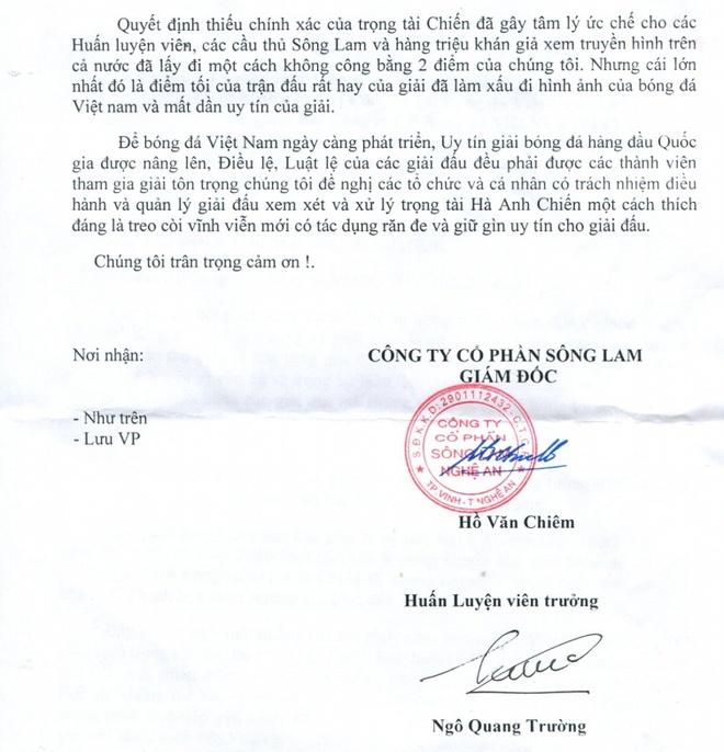 SLNA gui cong van doi treo coi vinh vien trong tai Anh Chien hinh anh 1