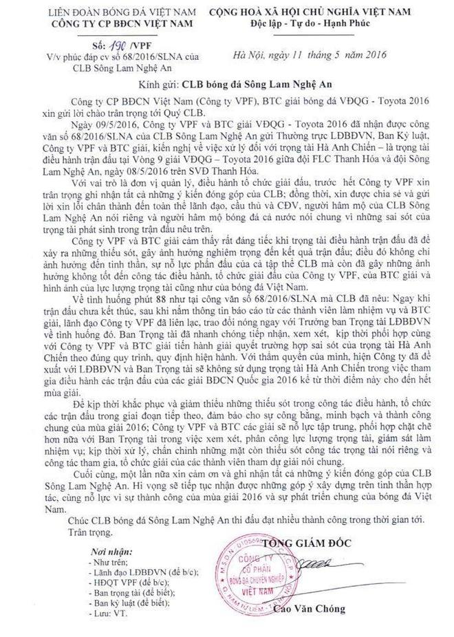 Ban to chuc V.League xin loi SLNA hinh anh 1