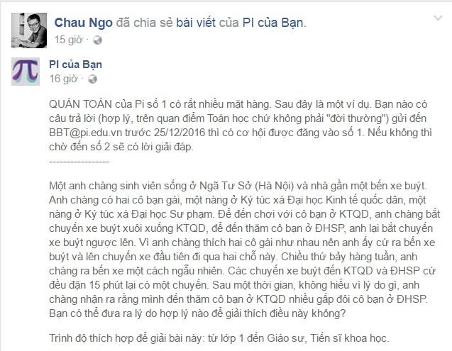 GS Ngo Bao Chau chia se bai toan thu vi tren Facebook hinh anh 1