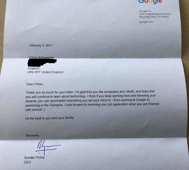 CEO Google tra loi thu xin viec cua co be 7 tuoi hinh anh 3