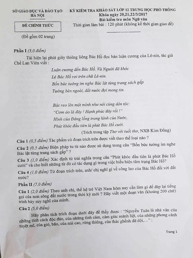 Thi thu THPT quoc gia o Ha Noi: De Ngu van khong kho, thieu doc dao hinh anh 1
