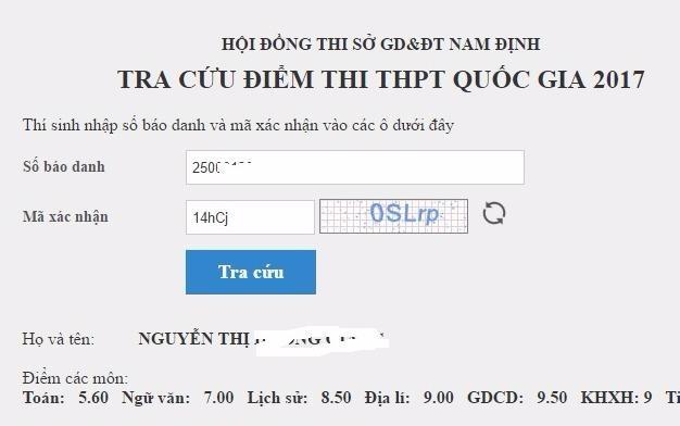 Nam Dinh cong bo diem thi THPT quoc gia 2017 hinh anh