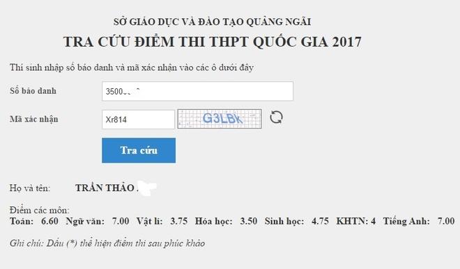 Tra cuu diem thi THPT quoc gia 2017 tinh Quang Ngai hinh anh 1