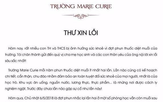 Truong Marie Curie xin loi sau vu hoc sinh di ung do thuoc diet muoi hinh anh