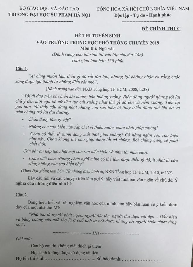 De thi chuyen Van vao lop 10 truong Su pham co tinh phan loai cao hinh anh 1