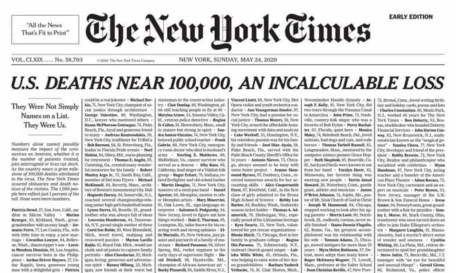 trang chu New York Times,  ten nan nhan Covid-19 New York Times anh 1