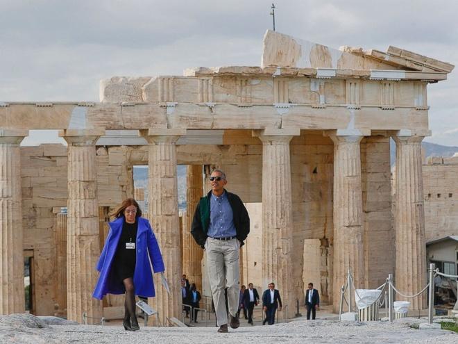 Obama den xu than thoai, thuc hien uoc mo tham den Parthenon hinh anh