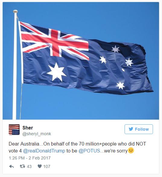 Nguoi My xin loi nguoi Australia vi Trump anh 1