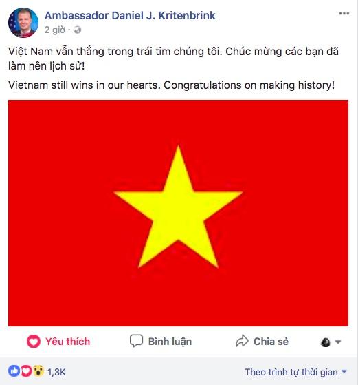 Dai su My chuc mung U23 la 'nguoi chien thang trong trai tim' hinh anh 1