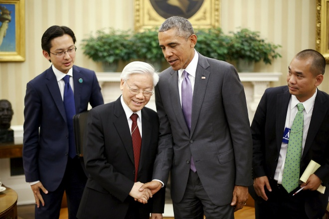 Quan he Viet - My buoc vao ky nguyen moi hinh anh 5 Tổng Bí thư Nguyễn Phú Trọng và Tổng thống Mỹ Barack Obama tại cuộc hội đàm lịch sử giữa lãnh đạo hai nước. Ảnh: Reuters