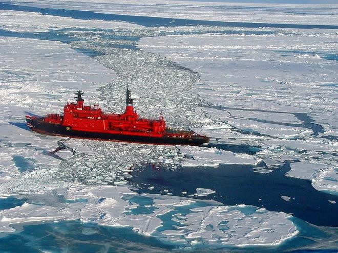Tàu phá băng hạt nhân Yamal của Nga trên đường tới Bắc Cực. Ảnh: Business Insider