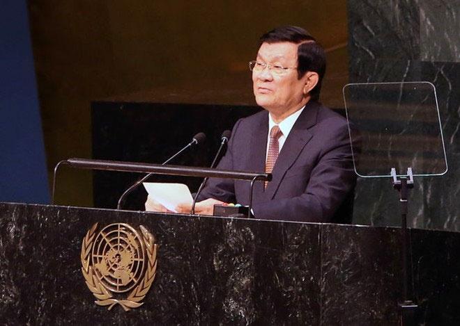 'Hanh dong xay dao cua Trung Quoc pham luat quoc te' hinh anh 1 Chủ tịch nước Trương Tấn Sang phát biểu tại Hội nghị thượng đỉnh Liên Hợp Quốc. Ảnh: Tuổi Trẻ