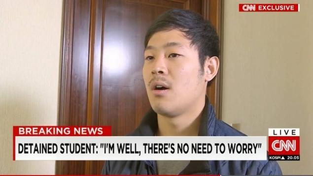 Trieu Tien bat ngo tha sinh vien Han Quoc sau nua nam hinh anh 1 Con tin người Hàn Quốc Joo Won Moon gặp gỡ báo chí quốc tế ở Bình Nhưỡng hồi tháng 5. Ảnh: CNN